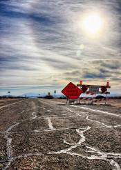 road closed route 66 california historic usa mojave beautiful sun sky hdr photo