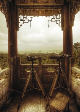lookout binoculars cityscape woods trees temple kunming china