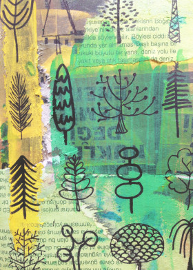 nature tree doodle pine green yellow cute mixed art acrylic watercolour newspaper texture collection
