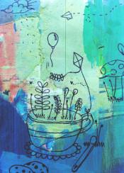 nature mug cup coffee tea mixed art cute mushroom cookie sky doodle acrylic kite balloon watercolour