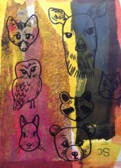 naute animals mixed media art gouache acrylic watercolour texture deer owl rabbit bear squirrel fox raccoon forest wild life illustration drawing doodle cute