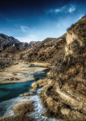 china tianjin river greatwall blue sky winter desolate