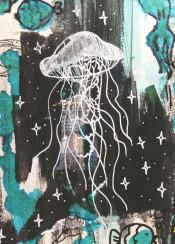 sea life jellyfish fish octopus star magic magical drawing acrylic watercolor blue dark seahorse doodle white ocean mixed art
