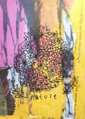 nature fruit flower floral warm pink orange yellow cute leaf drawing mixed art newspaper texture doodle