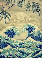ocean greatwave wave sea mountain fuji japan japanese oriental asian blue white mist brown green