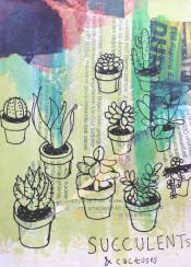 nature newspaper texture succulent cactus green flower pot illustration mixed media art watercolour acrylic cute doodle drawing