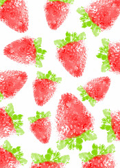 strawberry pattern red green fruit fruity ink color watercolor