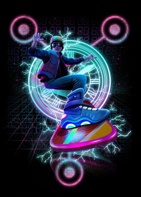 Marty McFly Hoverboard and Clock Tower Metal Poster