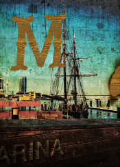 marina docklands ship water bay nautical marine melbourne australia antique old burnt edge grunge grungy paper texture aged vintage wood wooden lettering