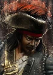 corsair pirate history warrior seas dark skull painting strokes textured sailor seaman captain commander tricorn feather historical navy dust buccaneer orange gold one eye mariner him man