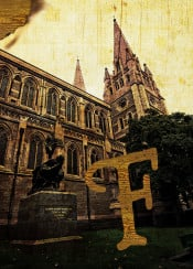 cultural artifact artefact captain matthew flinders bronze statue sculpture navigator seaman cartographer st pauls cathedral melbourne australia alphabet antique old burnt edge grunge grungy paper texture textured aged vintage wood wooden lettering initial urban city