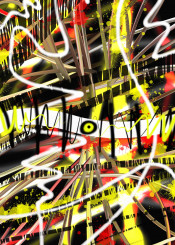 abstract urban street black yellow red graffiti design white