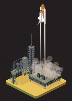 space isometric shuttle liftoff discovery platform