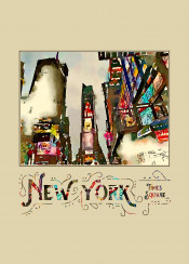 times square new york city nyc usa america travel destination landmark tourist attraction famous tourism cityscape urban metropolis buildings digital watercolor creative liquid