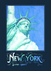 statue of liberty lady symbolic historic monument independence new york city nyc digital watercolor historical patriotism democracy america landmark famous tourism attraction illustration watercolour green blue