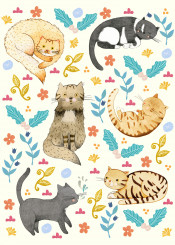 cats animal cute sweet flowers leaf blossom colourful pattern