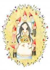 snow white fairytale brother grimm dwarf girl child kids princess crown flowers frame sleep bouquet green red