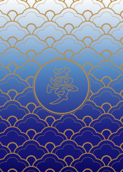 scallop pattern japanese royal blue sky gold gradation seigaiha monogram gradated oriental eastern geometric circle simple decoration wallpaper background abstract shape ornament decorative retro stylized backdrop traditional ornamental asian chic sea wave