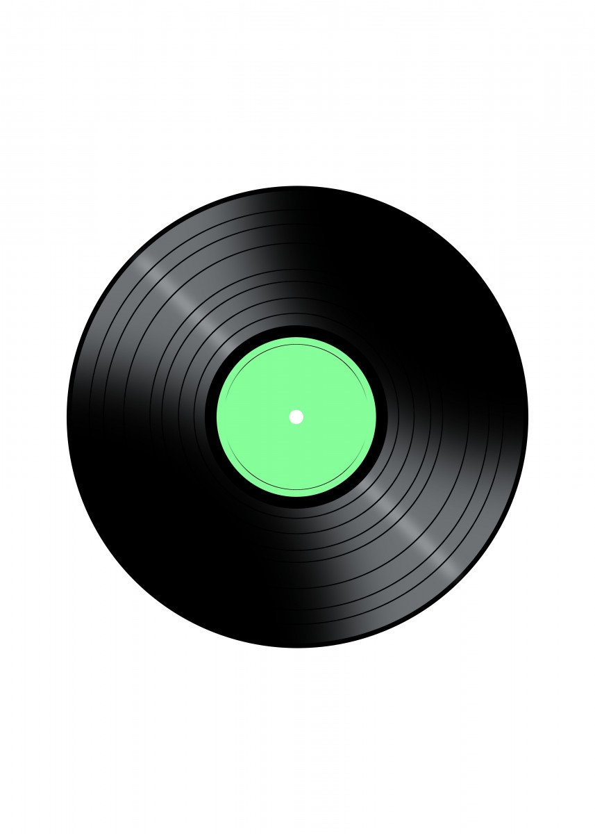 Music Record Vinyl Record with a color center on a white background.
