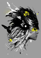 face head surreal avant gard eagle gold fish koi triangle feather humming bird splatter splash fly cool new grey simple