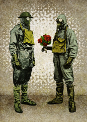 apocalypse gas mask bouquet flowers contamination epidemic pandemic danger allergy love bizarre rare nonsense surrealism