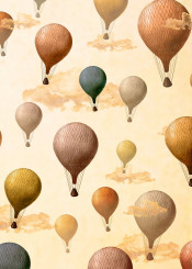 dverissimo pattern voyagers adventure explore travel sky balloons clouds inknown vintage collage