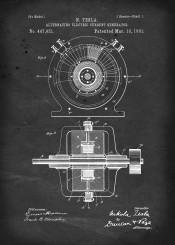 patent alternating electric current generator ac tesla vintage