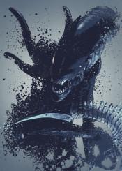 aliens warrior xenomorph alien pop culture splatter artwork