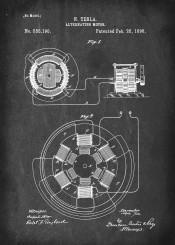 patent tesla alternating motor vintage illustration
