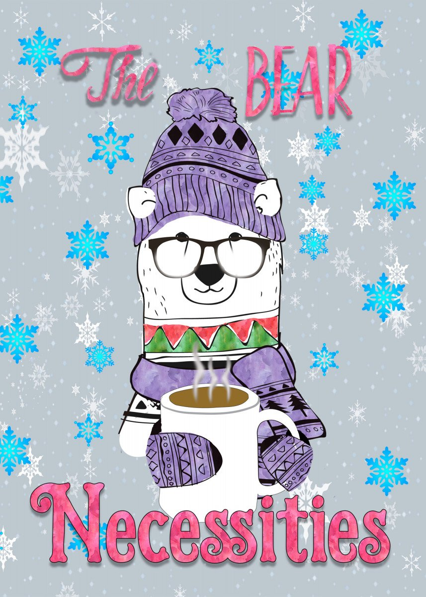 Illustrated and watercolor polar bear with the essential bear necessit