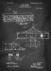 flying machine wright brothers airplane plane patent vintage illustration