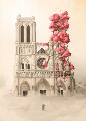 flowers notre dame architecture cathedral paris trees roots nature revenge forest illustration