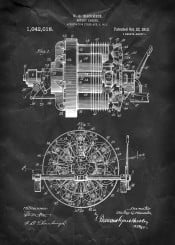 rotary engine macomber vintage patentent illustration