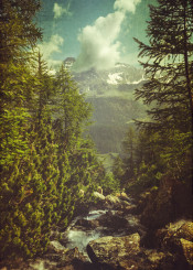 view mountains landscape outdoor trees alps italy vintage creek rocks clouds valley textured