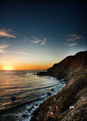 sunset highway sea ocean sun sky mountains hdr photo beautiful amazing