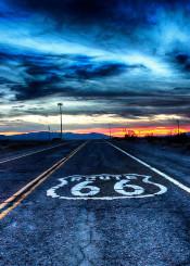 route 66 road california usa hdr sky sun set sunset