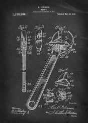 crescent wrench peterson vintage patent illustration