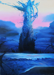 ocean sea tower organic visionary painting metamorphosis growth