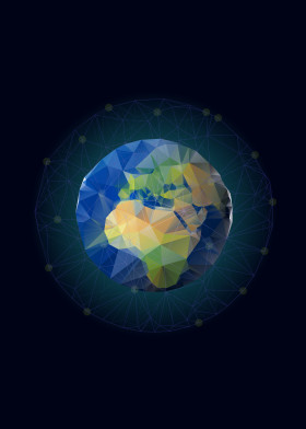 low poly earth globe world triangular triangle atmosphere land africa network