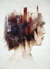 surreal surrealism abstract face woman portrait fineart classy beautiful sexy eyes side profile city urban unique modern exposure collage montage painting buildings hipster fantasy deep emotional emotion thinking mental mind brain idea wild juxtaposition power dream dreamy magical