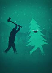 christmas tree funny humor cool winter green monster
