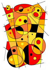 39 abstract geometric circles lines ellipses yellow orange red black