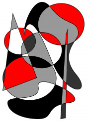 abstract 33 red black grays