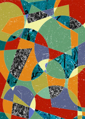 geometric digital abstract 100 rectangles trapezoids ellipses green purple red patterns marble