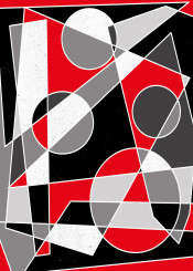abstract geometric black red gray white