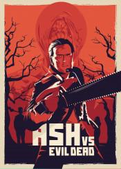 ash vs evil dead sam riami bruce cambel series poster alternative movie film purple orange trash horror