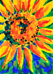 bright happy colorful petals sunshine sunlight summer sunny yellow orange blue green flower sunflower beautiful floral season outdoor blossom bloom leaf golden cultivated fresh single idyllic vibrant cheerful circle round lush foliage pollen acrylic painting brushstrokes creative handpainted handdrawn