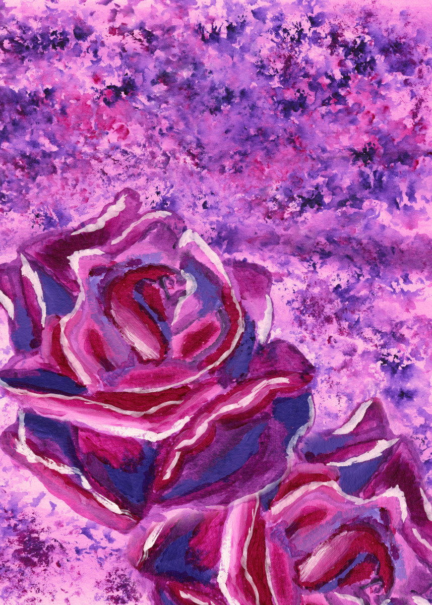 Blue Violet Winter Roses Acrylic Painting - An acrylic painting of win