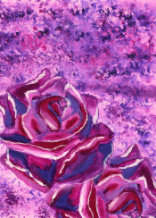 winter rose roses flowers floral violet blue magenta pink purple snow snowy snowtipped petals blooms blooming fragrant beautiful pair love icy ice cold frosty frosted frosttipped nature pretty acrylic painting handpainted handdrawn brushstrokes vibrant colorful creative