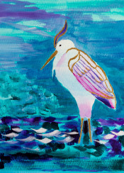 great white heron egret bird portrait bronze accent stylized turquoise blue green violet pink purple wade wading water lake wetlands swamp brushstrokes decorative handpainted wild animal wildlife nature living creature colorful acrylic painting artistic handdrawn vibrant